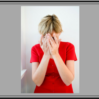 lady in red crying