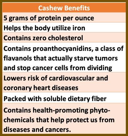 cashew benefits graphic