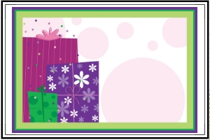 purple, red, and green presents