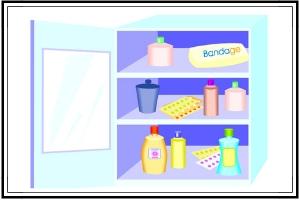 medicine cabinet full of supplies