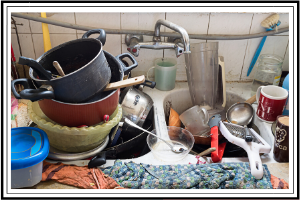 focus your time pots and pans cluttered in a sink