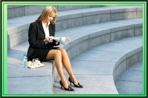 lady sitting outside on her lunch break