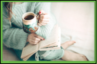 reading with coffee cup
