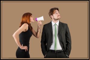 wife with bullhorn into husbands ear